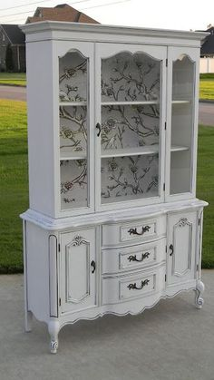 Love the interior treatment on this vintage china cabinet! Wish mine was painted and ready to move into my back room Refurbished Furniture, Paint Furniture, Repurposed Furniture, Furniture Projects, Furniture Making, Furniture Makeover, Vintage Furniture, Dresser Makeovers, Furniture Design