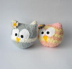 owl sock animal plush animal hoot pair sock by TreacherCreatures, $15.00