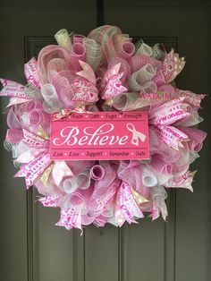 this large breast cancer deco mesh wreath is over 2 feet across and weights 2 pounds - Breast Cancer Decorations