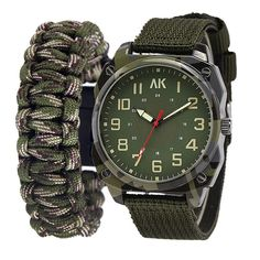 Men's AK Military Quarts Watch and Paracord Bracelet Gift Set
