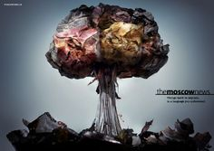 Print advertisement created by BBDO, Russia for The Moscow News, within the category: Media. Great Ads, Art Party, Hiroshima, Print Magazine, Amazing Art, Advertising, Moscow News, Nuclear Bomb, English Language