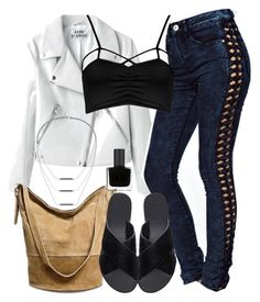 """""""Kali Inspired Outfit with a Black Bralette"""" by veterization ❤ liked on Polyvore featuring ASOS, Boohoo, Ancient Greek Sandals, Merona, RGB Cosmetics and Topshop"""