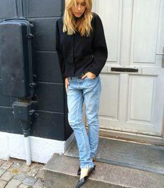 black blouse. denim. casual