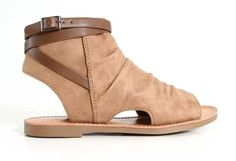 Soda Shoes Purce Peep Toe Sandals in Dark Tan