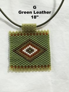 "Peyote Stitch Pendant Necklace Diamond Pattern 18"" or 16"""