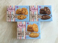 Millie's Ready to Bake Cookie Dough Choc. Chip, Triple Choc and White Choc. Millies Cookies, No Bake Cookies, Cookie Dough, Chips, Sweets, Snacks, Chocolate, Baking, Desserts