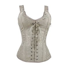 Apricot Lace Up Design Sleeveless Corset ($24) ❤ liked on Polyvore featuring tops, corsets, apricot, lace up front corset, white top, lace up front top, sleeveless tops and white sleeveless top