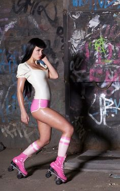 Cute roller girl latex outfit