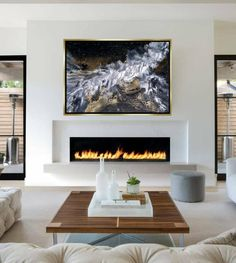 Your place to buy and sell all things handmade - Abstract painting 40 Original painting Gold-Silver Living Room Decor Fireplace, Fireplace Tv Wall, Linear Fireplace, Living Room With Fireplace, Fireplace Surrounds, Living Room Paint, Contemporary Fireplace Designs, Modern Fireplaces, Modern Electric Fireplace