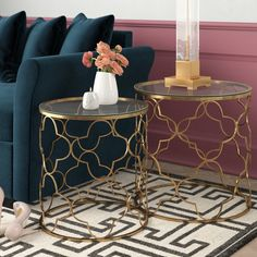 Living Room End Tables, Living Room Decor Cozy, Formal Living Rooms, Living Room Sofa, Living Room Furniture, Blue And Gold Living Room, Glass Top Side Table, Deco Furniture, Mirror Furniture