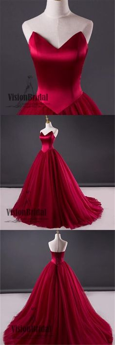 Red Satin Top Sweetheart Floor Length Prom Dress, Lace Up Open Back Long Prom Dress, Prom Dresses, VB0239 #promdress