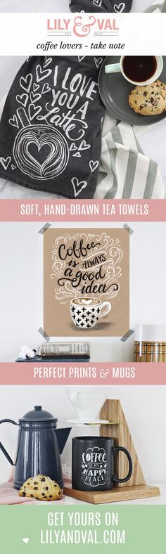 Coffee lovers delight | coffee-themed kitchen | latte art | coffee home decor | hand-drawn chalk art | kitchen accessories | tea towel, mug, and print