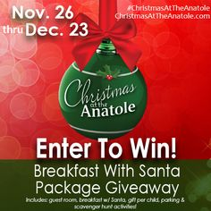Giveaway: Enter to win Breakfast with Santa Hotel stay at Hilton Anatole