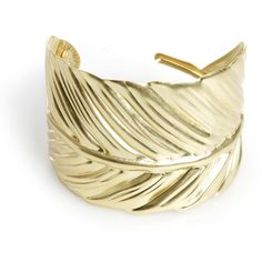 Gold Feather Cuff ($56) ❤ liked on Polyvore featuring jewelry, bracelets, accessories, boho bangles, gold cuff jewelry, gold cuff bangle, bohemian bangles and boho jewelry