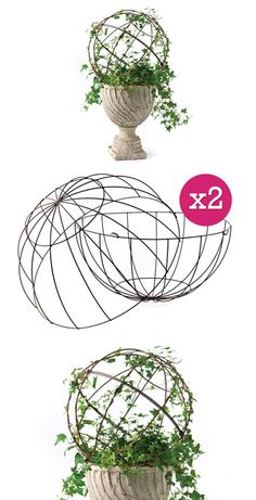 "INSPIRATION | TOPIARY FORM :: {DIY Charm} Wire Metal Topiary Dome, Set Of 2 (Two Pieces a Set) :: $25.50 | http://decorsteals.com :: [16""dia] Crafted of wire, the 2 pieces clip together to form a dome. :: This is a clever product, if only it wasn't so huge! I think you could make one... 