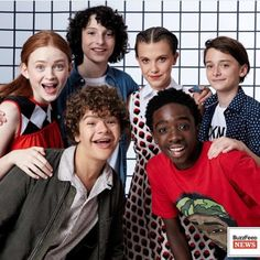 Sadie Sink, Finn Wolfhard, Millie Bobby Brown, Noah Schnapp, Caleb McLaughlin, and Gaten Matarazzo.