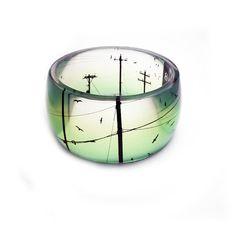 XL SUPER CHUNKY bangle bracelet  resin Bird on a Wire by BuyMyCrap, $48.00