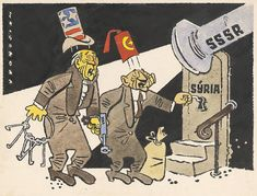 Sovyetler Birliği'nin siyasi mizah dergisi Krokodil'de yayınlanan bir karikatür, 1958.