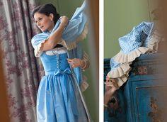 A charmingly lovely baby blue gingham print Dirndl by Susanne Spatt. #blue #gingham #dirndl #dress #German #folk #costume