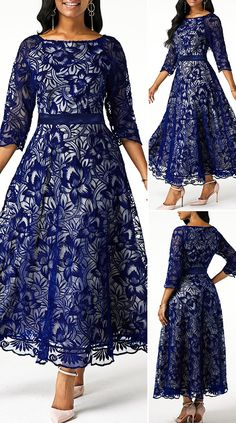 Three Quarter Sleeve Navy Blue Back Zipper Lace Dress Three Quarter Sleeve Navy Blue Back Zipper Lac Simple Dress Styles, Simple Dresses, Pretty Dresses, Beautiful Dresses, Mother Of The Bride Dresses Long, Dresses To Wear To A Wedding, Latest African Fashion Dresses, African Dresses For Women, African Fashion Traditional