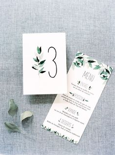 Watercolor foliage-inspired invitations: www.stylemepretty... | Photography: Brancoprata - brancoprata.com/