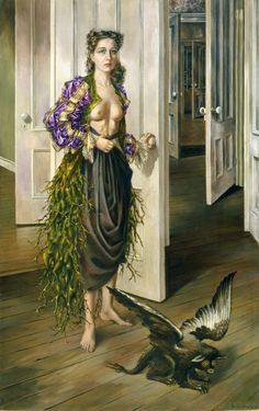 Dorothea Tanning - 'Birthday' (1942) This is Dorothea Tanning's most famous painting, it is also one of two of hers which were exhibited at the exhibition of 31 Women in 1943. 'Birthday' is in the collection of the Philadelphia Museum of Art.
