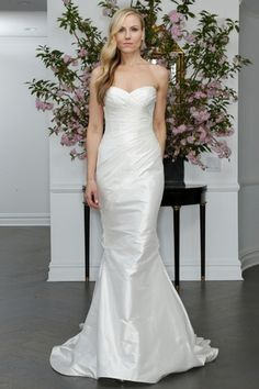Sweetheart Fit and Flare Wedding Dress  with Natural Waist in Silk Taffetta. Bridal Gown Style Number:33221409