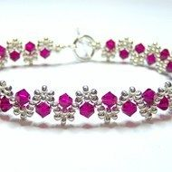 Ruby and silver crystal swarovski bicone bracelet