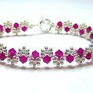 Ruby and silver crystal swarovski bicone bracelet