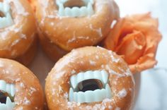 Easy last minute Halloween dessert using donuts and fangs