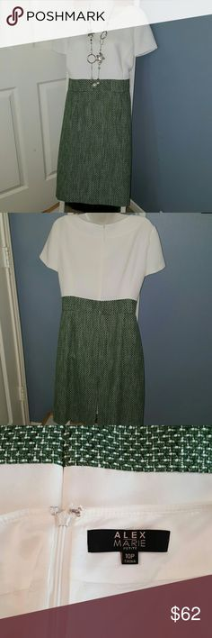 Beautiful Alex Marie Dress This designer dress is gorgeous. It is an Alex Marie creation and is cream and green with waist band to give it that two piece professional look. Dress is fully lined and practically brand new. The dress is in perfect like new condition and has never been worn. Accessories not included. Alex Marie Dresses Midi
