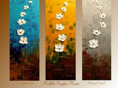 Abstract Triptych Contemporary modern art mixed media on canvas painting by Nicolette Vaughan Horner Title: Dancing Summer Petals Thick white impasto flowers To view more of my unique art please click here www.etsy.com/shop/artmod Dimensions: 3 panels each measure 30x10 total painting