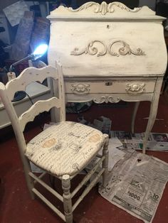 Painted & distressed sweet antique secretary and chair I painted