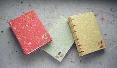 hand bound book / bookbinding / leaf / ardeas / Zápisník A6 - Tri lístky (zelený) / handmade paper / belgian binding