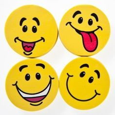 Yellow Smiley Face Erasers by Century Novelty. $1.95. Smile With Us. Looking for the perfect party favor to make your guests smiles These Yellow Smiley Face Erasers are an adorable and affordable parting gift that children of all ages will enjoy. Smiley erasers are a practical gift that will turn any frown upside down! 24 erasers per package. Approximately 1 1/4. Assorted happy expressions. Whether you are looking for party favors or family fun, stock up on smiley...