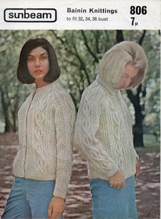 1970s ladies aran cardigans in round neck or collar  by Hobohooks, £1.20