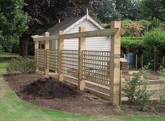 what to do with a hole in your patio - the pergola revisited Trellis_fence_oak_posts Trellis Fence, Wood Trellis, Diy Trellis, Garden Trellis, Trellis For Privacy, Privacy Screens, Wisteria Trellis, Pergola Screens, Clematis Trellis