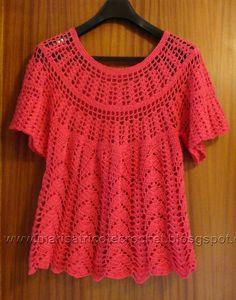 Marisa Tricot Crochet E Acessórios: Blus Crochet Mittens, Crochet Tunic, Crochet Jacket, Crochet Clothes, Crochet Top, Crochet Curtains, Free Crochet, Crochet Pattern, Pull Crochet