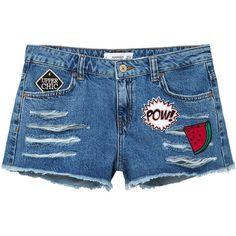 MANGO Patched Denim Short ($46) ❤ liked on Polyvore featuring shorts, distressed jean shorts, destroyed jean shorts, embellished shorts, distressed shorts and ripped shorts