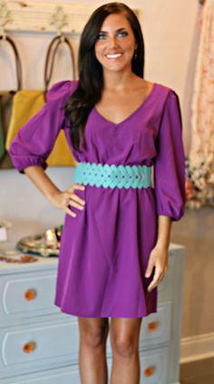 lottiedottie   Purple Dress. Loving the belt too.