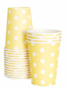 Paper Cups - Yellow Polka Dots