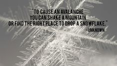 To cause an avalanche you can shake a mountain or find the right place to drop a snowflake - Unknown
