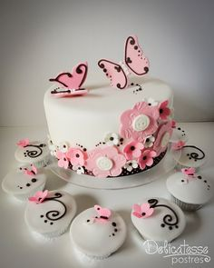 Flowers & Butterflies Choco Pink Cake | Flickr - Photo Sharing!