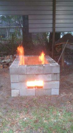simple temporary cinder block fire pit | Cinder Block Yard ... on Simple Cinder Block Fireplace id=81263