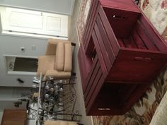 My first ever DIY project. Wine crate coffee table...