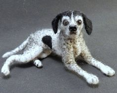 Aangepaste hond replica aangepaste Gevilte hond miniatuur naald vilten hond soft sculpture aanwijzer Dalmatische aangepaste hond urn cadeau idee regenboogbrug