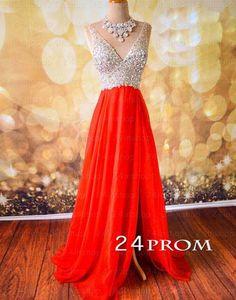 A-line V neckline Chiffon Long Prom Dress, Formal Dresses – 24prom #prom #promdress #dress