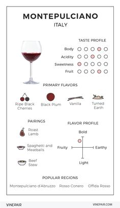Wine varietals - An Illustrated Guide to Montepulciano From Abruzzo, Italy – Wine varietals Wine Tasting Notes, Wine Tasting Party, Wine Parties, Art Du Vin, Wine Infographic, Infographic Templates, Infographics, Different Types Of Wine, Wine Chart