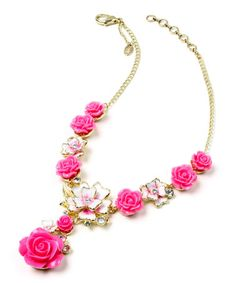 Another great find on #zulily! Fuchsia Austrian Crystal Versailles Floral Pendant Necklace #zulilyfinds