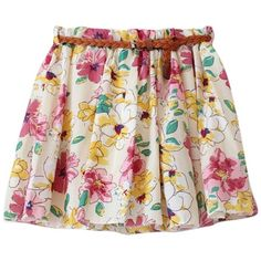 AM CLOTHES Womens Floral Skater Skirt with Belt One Size Sakura Yellow... (31 BRL) ❤ liked on Polyvore featuring skirts, floral circle skirt, yellow skirt, flared floral skirt, floral printed skirt and circle skirt